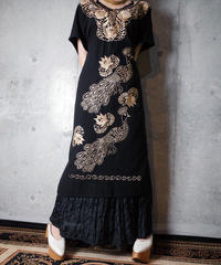Peacock Embroidery Dress
