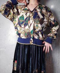 Scarf Arabesque Rayon Rib Shirt Blouson