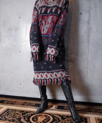 Paisley Fringe Cotton Knit Dress