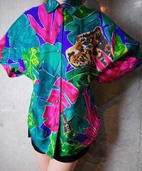 Botanical & Leopard Silk Shirt
