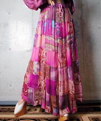 Sheer Rayon Patchwork Skirt