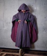 Purple Nep Wool Hoodie Poncho
