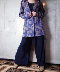 Flower Jacquard Jacket × Navy Pleats Wide Pants Set up