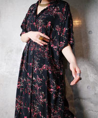 Black Flower Rayon Front Open Dress