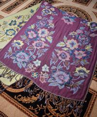 Purple/Yellow Flower Stole PASHMINA/SILK