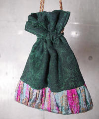 Vintage Fabric Remake 巾着 green/aurora