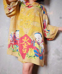 龍×大吉 Oriental Silk Big Shirt