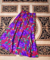 Red × Purple Flower Rayon Skirt
