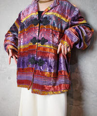 Remake China Buttons Aurora Gradation Art Velvet Jacket