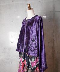 Purple Rayon Velvet Mirror Embroidery Bolero Blouse