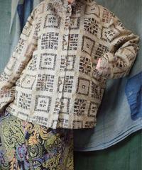 Embroidery See Through Mao Collar Shirt