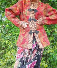 Remake China Button Leopard × Flower Gobelin Jacket