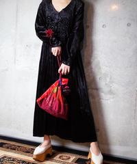 Bijou Embroidery Black Rayon Velvet Front Open Dress