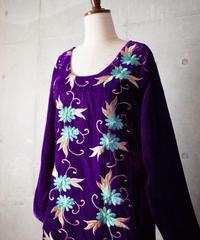 Royal Purple Velvet Embroidery Dress