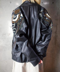 Beautiful Bijou Shoulder Short Length Leather Jacket 1980s vintage