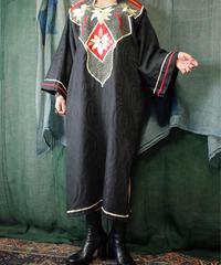 African Embroidered × Jacquard Damask Black Dress