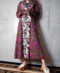 Remake Docking Flower × Paisley Front Open Dress
