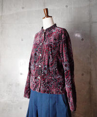 Paisley & Arabesque Stand Collar Velvet Jacket