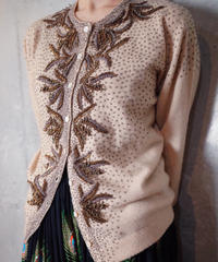 """""""Pure Cashmere100%"""" Bijou Embroidery Cardigan from 1950s vintage"""