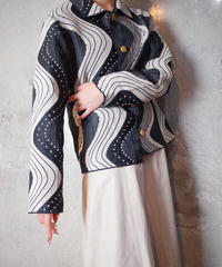 Black & White Wave Gobelin Jacket Reversible