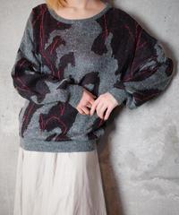 Jacquard Long Hair Knit Sweater
