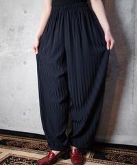 Black Satin Stripe Wide Pants