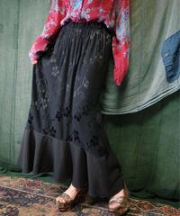Black Flower Rayon Mermaid Skirt