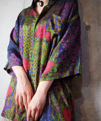 Paisley × Flower Deep Aurora Rayon Satin Shirt