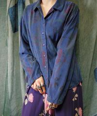 和柄×漢字 Blue Rayon Shirt