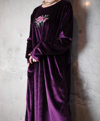 Deep Purple Velvet Flower Embroidery Dress