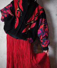 Suede × Abstract Rayon Crazy Patchwork Blouson