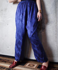 Jacquard Flower Silk Satin Pants