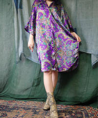 Flower Purple Satin Shirt Dress