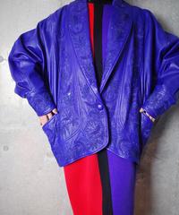 Royal Blue Embroidery Dolman Leather Jacket