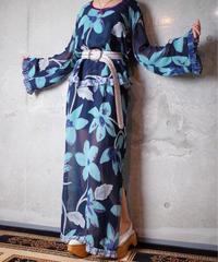 Flower Sheer Bell Sleeves Maxi Dress