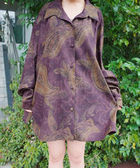 Deep Purple Paisley Faux Suede Big Shirt