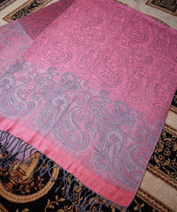 Pink/Silver Paisley Silky Stole