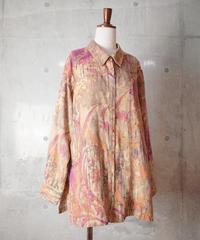Art-Nouveau Flower Faux Suede Shirt