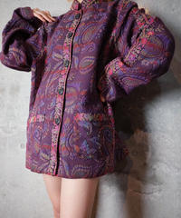 Aurora Purple Paisley Gobelin Mao Collar Jacket
