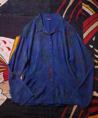 """浮世絵×漢字"" Deep Blue Open Collar Shirt"