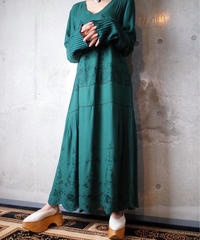 Embroidery Deep Green Rayon Dress