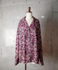 Deep Bordeaux Paisley Open Collar Shirt