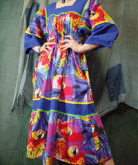 Parrot Tiered Dress from 1970s vintage