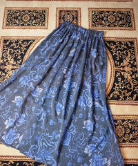 Blue Rose × Paisley Silk Skirt