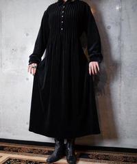 Black Velvet Pin Tuck Dress