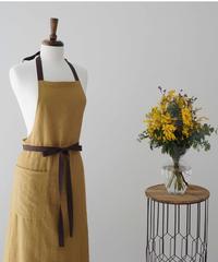 NEW スリットエプロン Mustard with ribbon