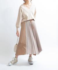 配色プリーツスカート|Mylanka|M25404