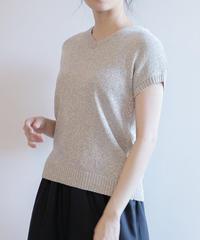 【イタリア製糸使用】OLIVO 半袖ラメニット|K95213[C+]