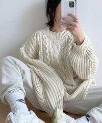 Cable over knit (4color)