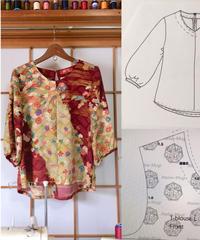 着物リメイクパターン:Tブラウス7分丈パフスリーブ Lサイズ